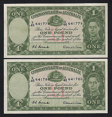 Australia R-32. (1952) One Pound - Coombs/Wilson.. EF - CONSECUTIVE Pair