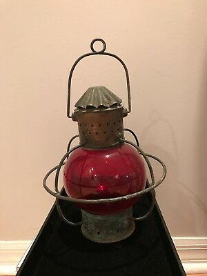 Antique Nautical Marine Lantern  Ruby Red Glass