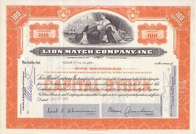 1963 Lion Match Co stock certificate