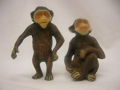 2 Vintage Monkey Figurines Sitting Standing Natural Detailed