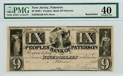 1800's $9 The Peoples' Bank of Paterson, NEW JERSEY Note - PMG XF 40