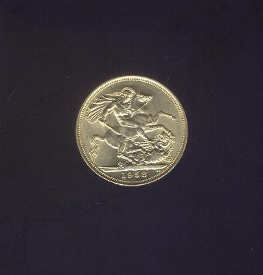 England, Choice Uncirculated 1958 Gold Sovereign of Elizabeth II, Free USA Ship.