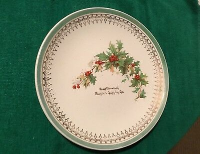 Advertising Christmas Plate COMPLIMENTS OF PEOPLE'S SUPPLY CO