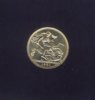 England, Uncirculated 1981 Gold Sovereign of Elizabeth II, Free USA Shipping