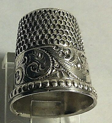 Antique Simons Bros Sterling Silver Scrolls and Cartouche Design Thimble Sewing