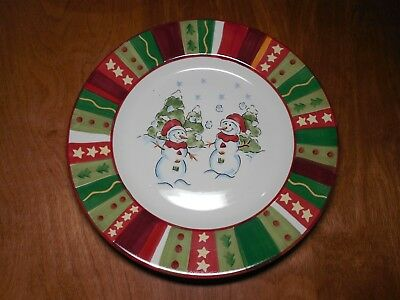 "Tabletops Gallery WINTERLAND Set of 4 Dinner Plates 11 1/4"" Holiday Red"