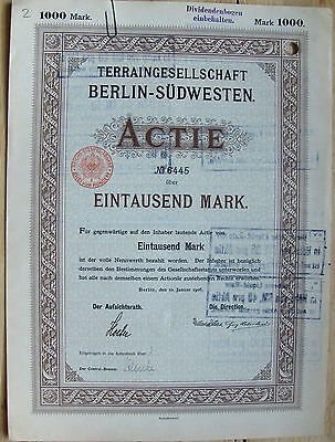 Terrain Society Berlin-South Western-Terraingesellschaft German bond, 1906