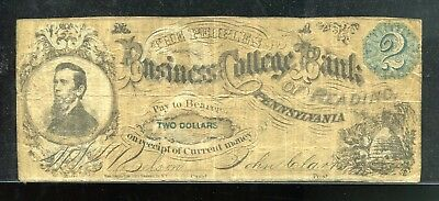 1870's $2 TWO DOLLARS, THE PEOPLES BUSINESS COLLEGE BANK in READING, PA in Fine