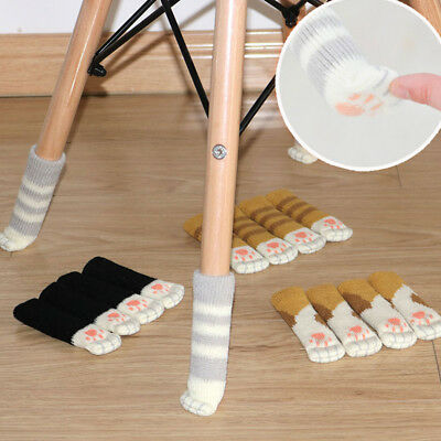 4pcs/set Table Chair Leg Cuff Knit Cover Socks Sleeve Protect Floor Colorful