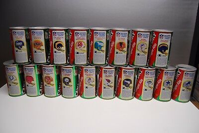 Canada Dry NFL Football Series Ginger Ale Set of 18 cans Vintage