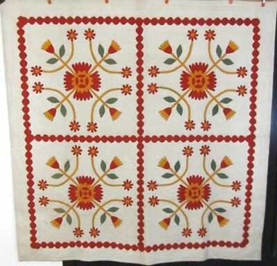 SHOWSTOPPER c 1860-70s Whig Rose ANTIQUE Applique Quilt RARE framing RED Green