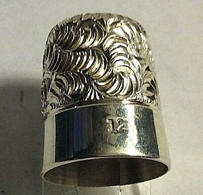 Vintage Simons Bros Sterling Silver Scrolls Feather Design Thimble Sewing Sz 12