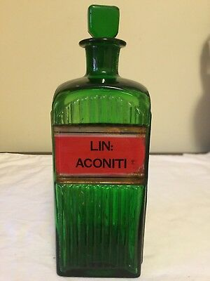 Rare Square Emerald Green Label Under Glass Apothecary Pharmacy Bottle