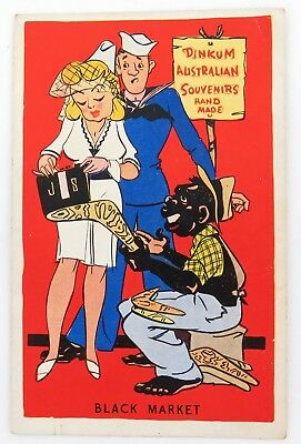 ".1930s / 1940s AUSTRALIAN RACIALLY INAPPROPRIATE ""BLACK MARKET"" COMICAL POSTCARD"