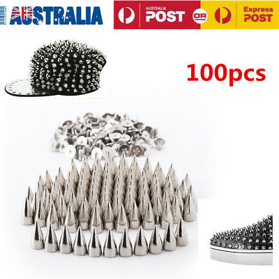 100pcs 7X9.5mm Silver Screw Bullet Rivet Tree Spikes Studs Spots DIY Rock Punk