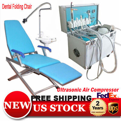 Portable Dental Delivery Unit  w/ Slow Suction 4 Hole + Folding Dental Chair USA
