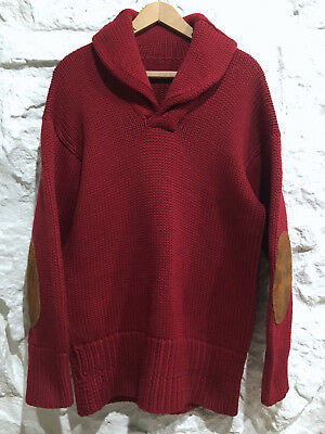 Vintage 30's 40's Shawl Collar Wool Knit Pullover Sweater Excellent