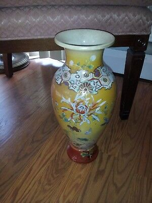 "Vintage Antique Asian Chinese Porcelain Yellow Vase 15"" Flowers in Gold"