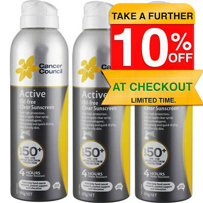 3PK Cancer Council Active Oil Free Spray Sunscreen SPF 50+ Water Resistant Sun
