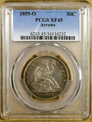 1855-O Arrows PCGS XF45 Seated Half Dollar