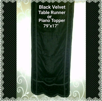 "Black Velvet Table Runner Piano Topper 79""x 17"""