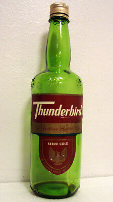 Vtg THUNDERBIRD American Wine E&J GALLO EMPTY 4/5 QUART Green BOTTLE w/ Label