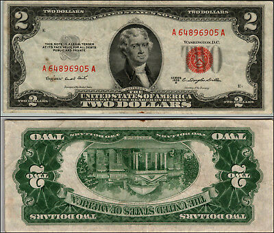 1953B $2 Dollar Bill Old Us Note Legal Tender Paper Money Currency Red Seal W495