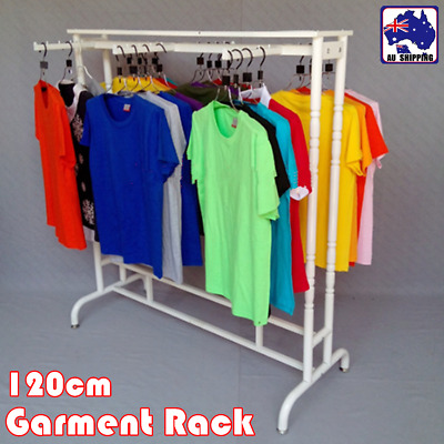 White Garment Rack Clothes Metal Rail Stand Hanging Shop Display Home TRAR56802
