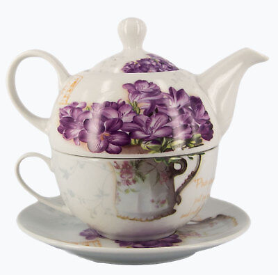 China Tea for One Cup & Saucer w/ Teapot-Violets (Shrink Wrapped)-FREEPOST