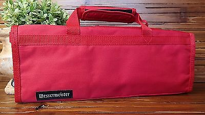MESSERMEISTER Padded 6 Slot Knife Roll 15in. x 6in. x 1in. RED Carry Case
