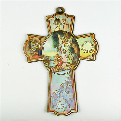 Wooden Religious Saint Crucifixes With Guardian Angle Picture