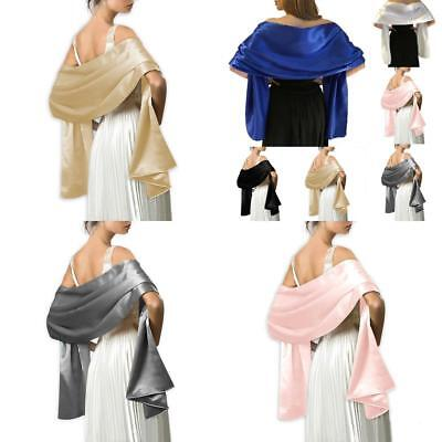 Wedding Prom Shawl  Satin Bridal Bridesmaid Stole Wrap Bolero Pashmina Cover Up