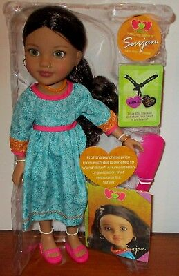 """Hearts For Hearts Girls Doll Surjan From Nepal Doll 14"""" Retired New Without Box"""