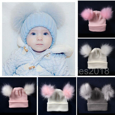 Newborn Kid Baby Boy Girl Beanie Hat Cap Winter Warm Double Fur Pom Bobble Knit