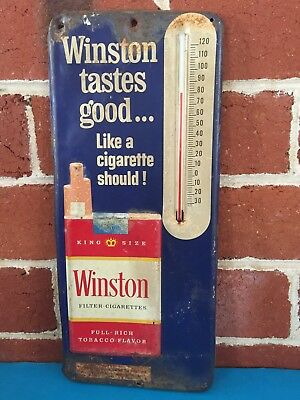 A Fantastic Old Original Winston 3D Metal Thermometer Sign