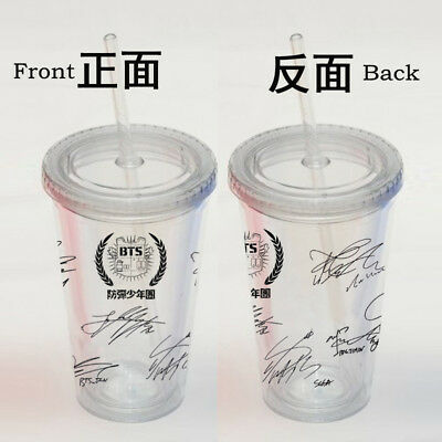 BTS Cup Limited Edition Travel Tea Coffee Water Straw Bottle Mug Hot