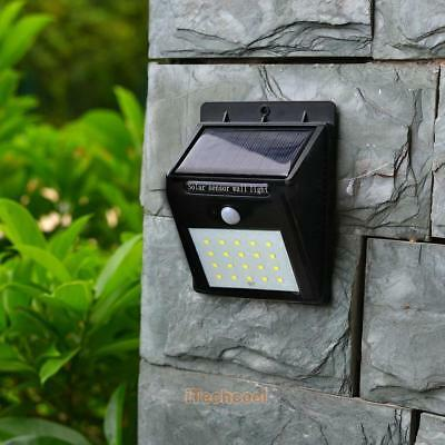 20 LED Solar Powered PIR Motion Sensor Security Outdoor Garden Wall Pathway Lamp