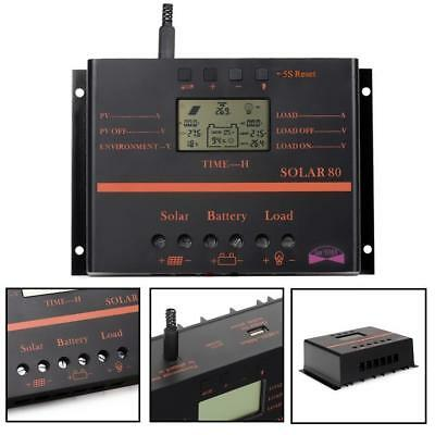 60A 80A 12V 24V PWM LCD Display Solar Laderegler Solar Regler Regulator USB DI