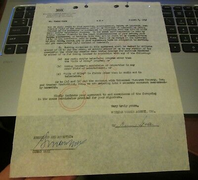 Gummo Marx Hand Signed Contract....One of the Five Marx Brothers...