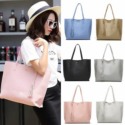 Simple Shoulder Bag PU Leather Solid Color Handbag Tassels Purse Lady Casual Bag