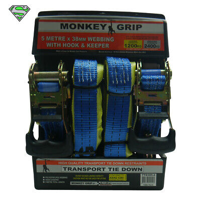 2 X 5 Metre Transport Tie Down Rachet Straps | 38mm Webbing with Hook and Keeper