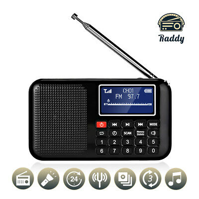 Raddy RF28 Digital Tuning FM Radio Portable MP3 Player with Flashlight