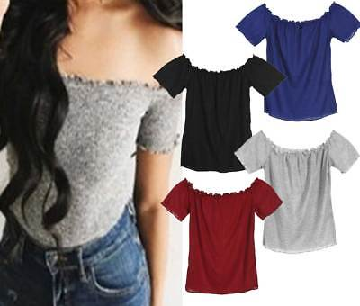 Summer Women Casual Off Shoulder Tank Top Vest Blouse Sleeveless Crop Tops Shirt