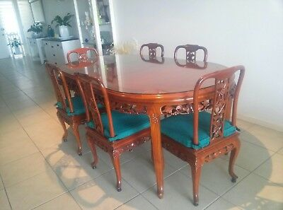 Chinese Chippendale Oriental Antique Dining Suite