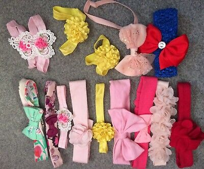 Baby Girl Bundle Of Hair Bands 0-12 Months New And Used Ted Baker Next Hand Made