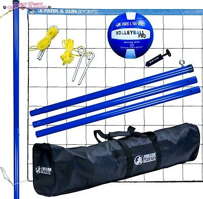 Park Sun Volley Sport Portable Outdoor Steel Volleyball Net Set with Bag Blu