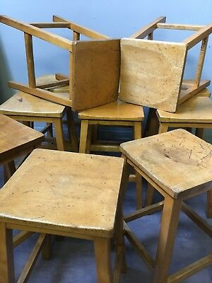 Vintage school stools Wooden chemistry Lab kitchen cafe bar Stools