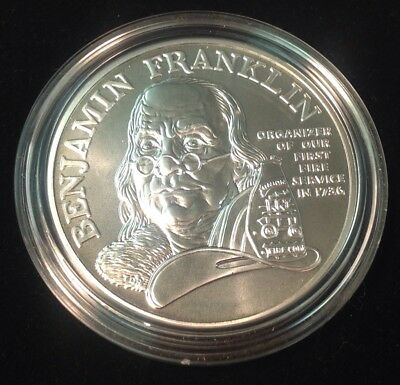 1992 Ben Franklin Firefighters Silver Medal Uncirculated  1 oz  NO COA or Box