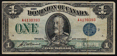 1923 $1 Canadian Dominion Note DC-25h Blue Seal