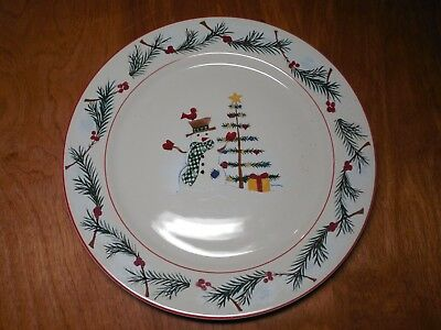 Farberware HOLIDAY SNOWMAN 4380 Set of 4 Dinner Plates 10 3/4""